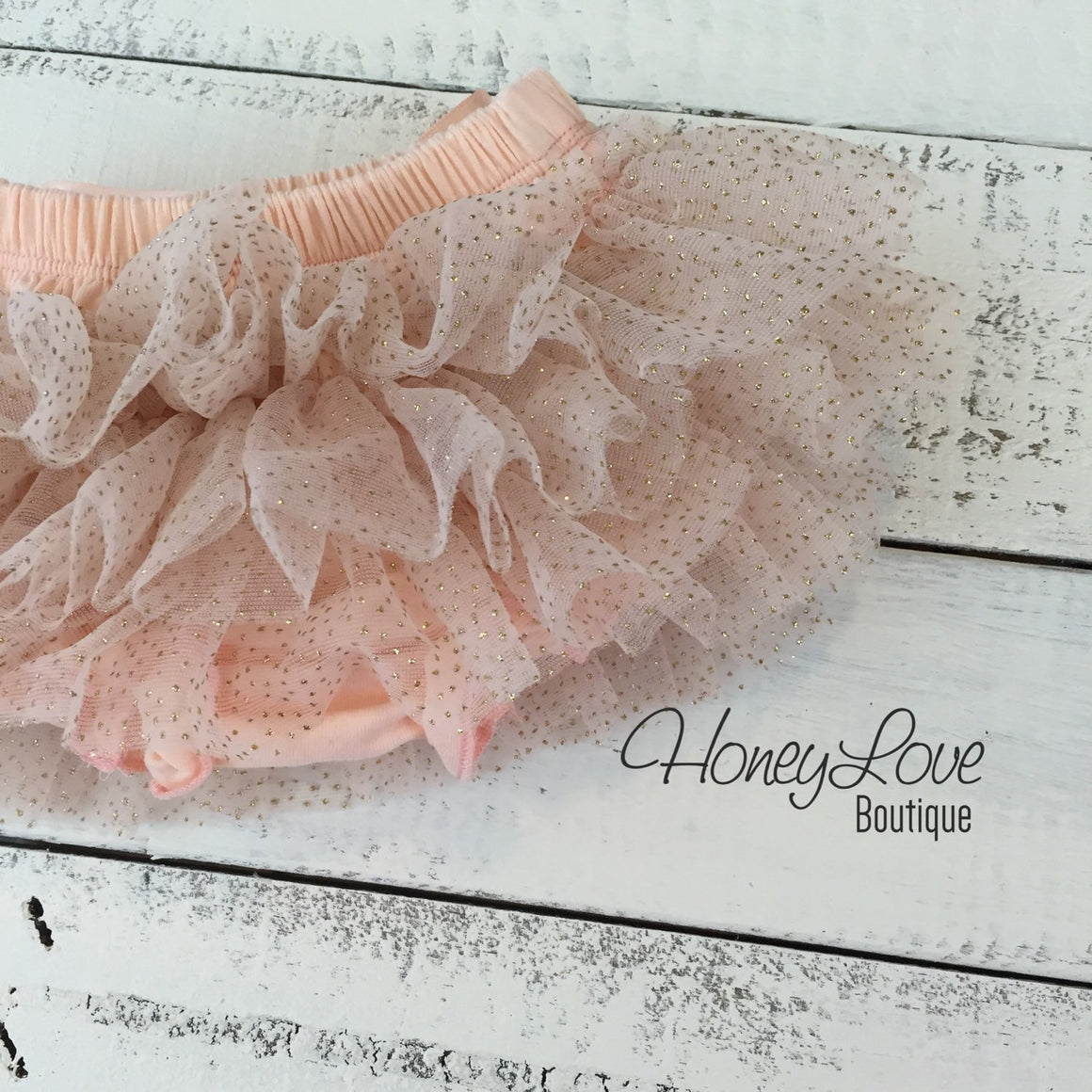 Peach with gold glitter tutu skirt bloomers - HoneyLoveBoutique