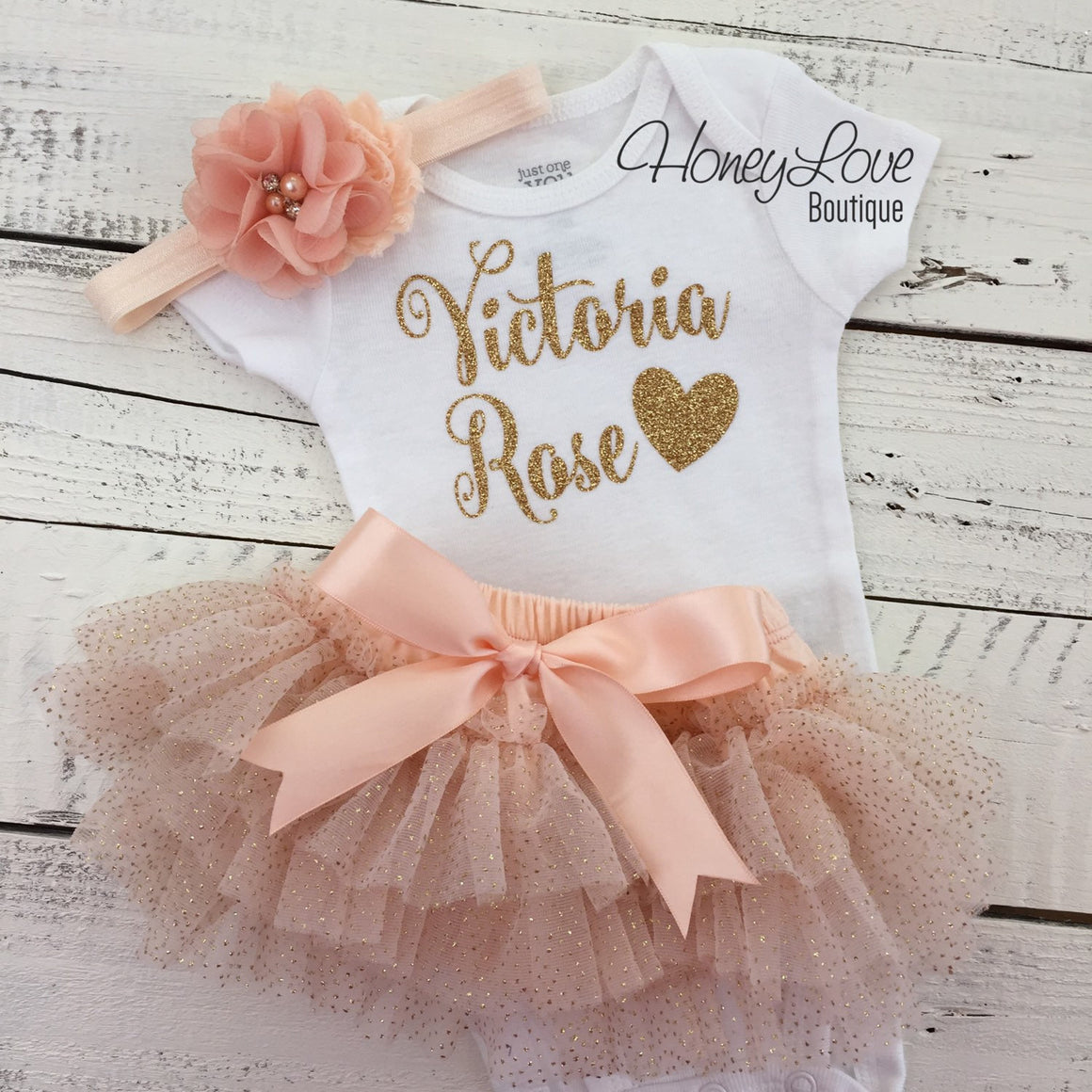 PERSONALIZED Name Outfit - Peach and Gold Glitter - HoneyLoveBoutique