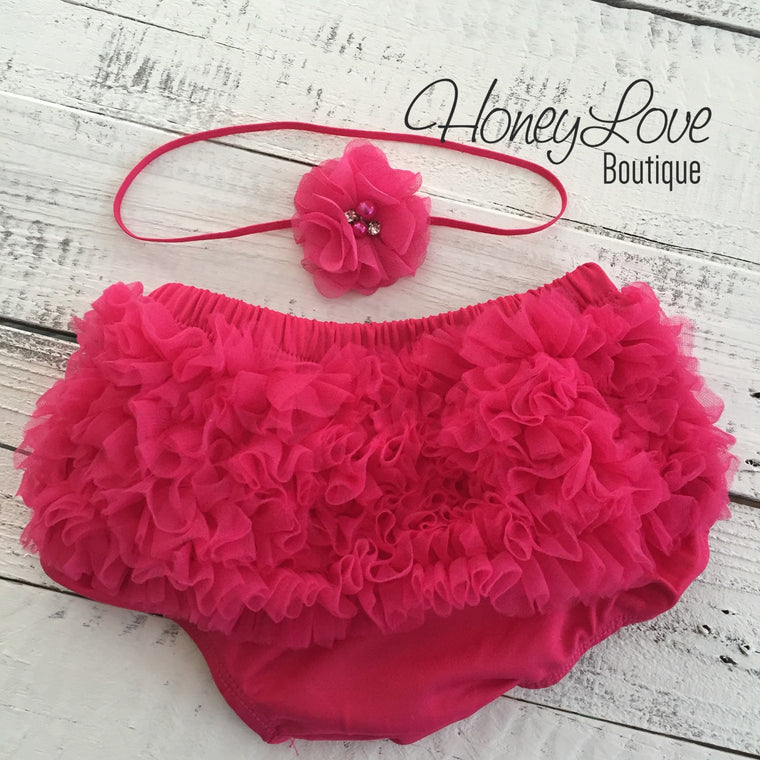 Watermelon ruffle bottom bloomers and skinny headband