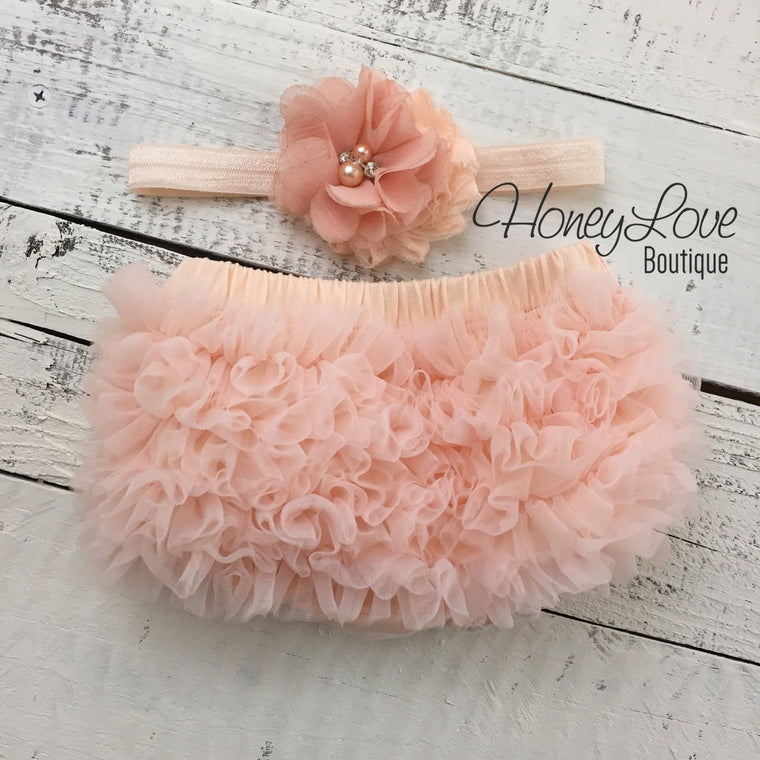 Peach ruffle bottom bloomers and peach headband