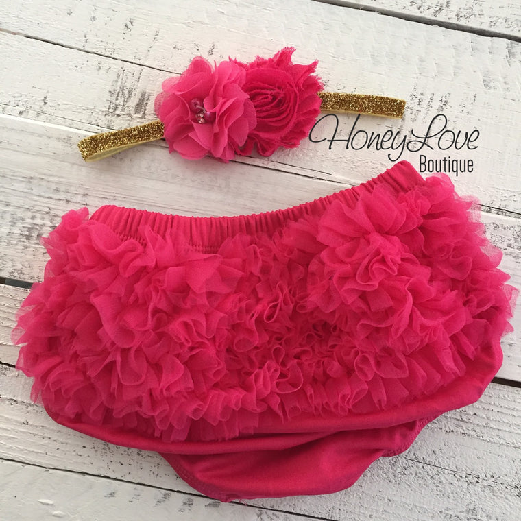 Watermelon Pink ruffle bottom bloomers and gold glitter headband