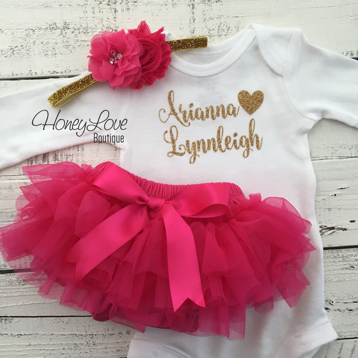 PERSONALIZED SET gold glitter bodysuit, hot pink ruffle tutu skirt bloomers, flower headband, newborn baby girl take home hospital outfit - HoneyLoveBoutique