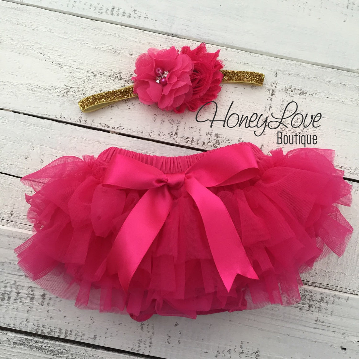 PERSONALIZED Name Outfit - Gold Glitter and Watermelon/Hot Pink - HoneyLoveBoutique