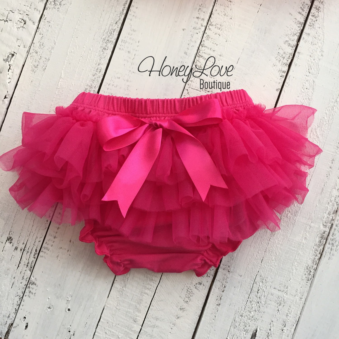 Watermelon Pink tutu skirt bloomers and silver glitter headband - HoneyLoveBoutique
