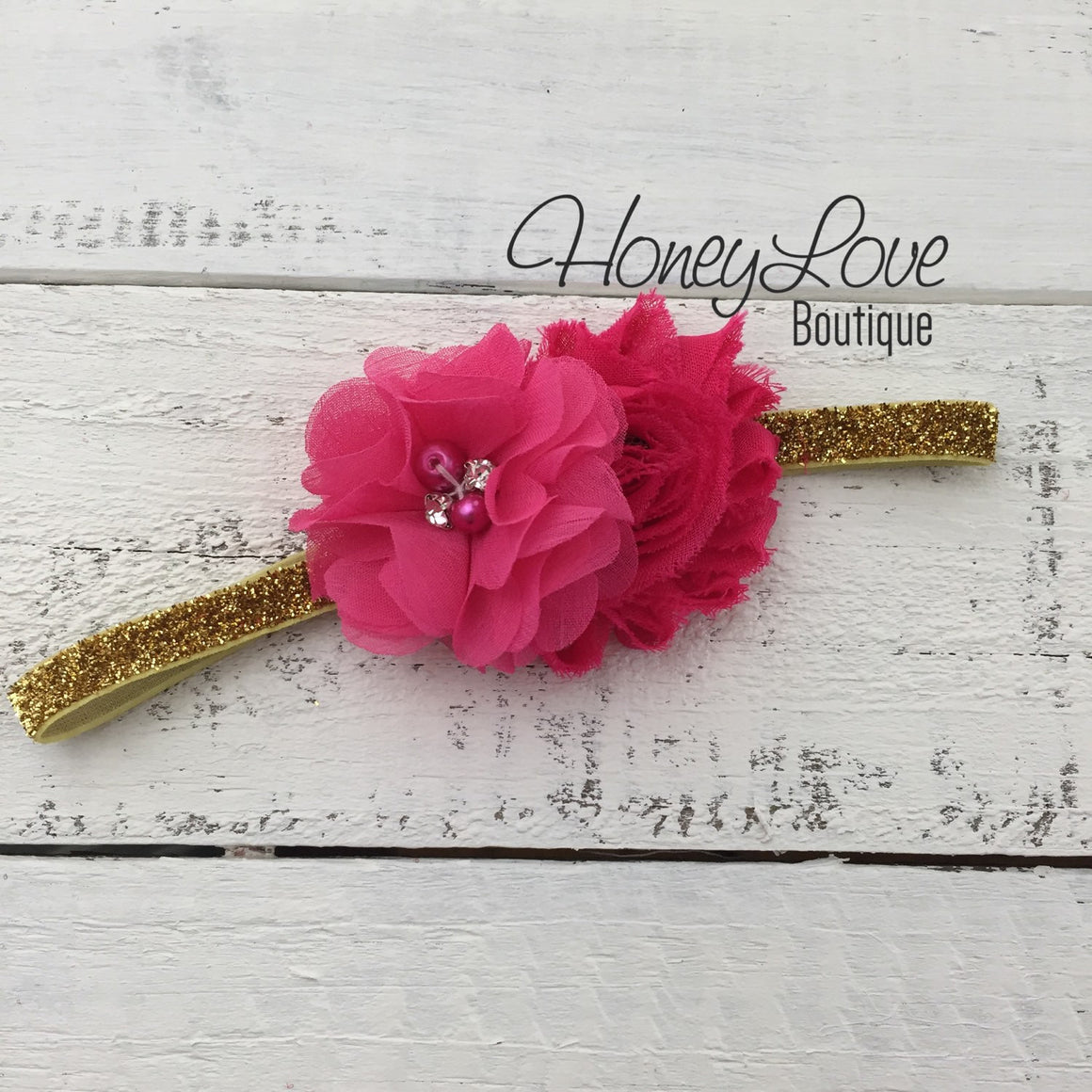 Watermleon Hot Pink shabby flower with rhinestones and pearls on Silver/Gold glitter headband - HoneyLoveBoutique