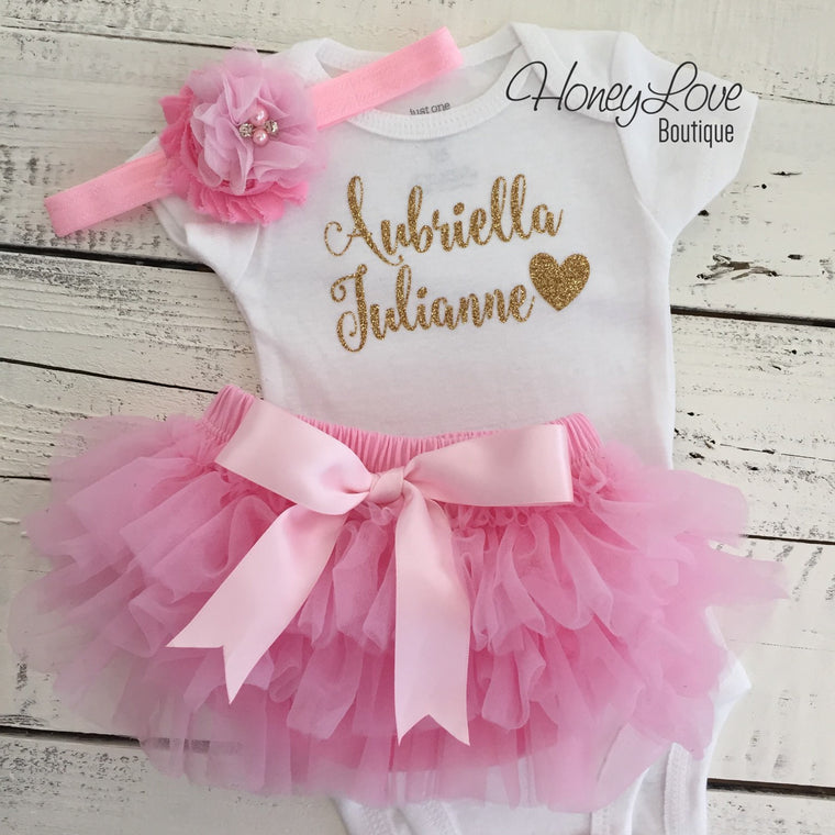 PERSONALIZED SET gold glitter shirt bodysuit, pink ruffle tutu skirt bloomers, flower headband, newborn baby girl take home hospital outfit - HoneyLoveBoutique