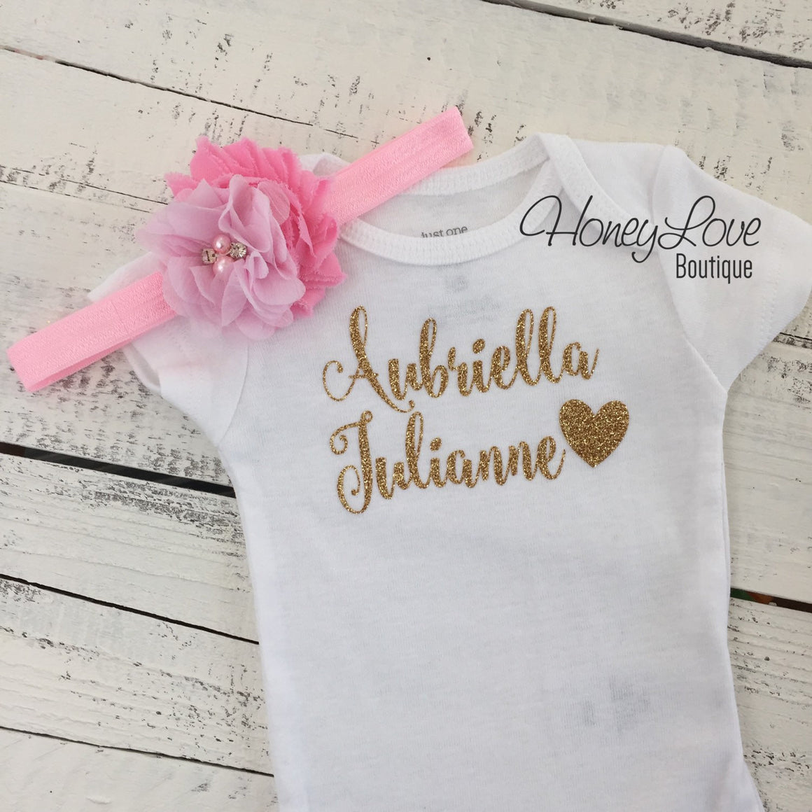 PERSONALIZED Name Outfit - Gold Glitter and Light Pink