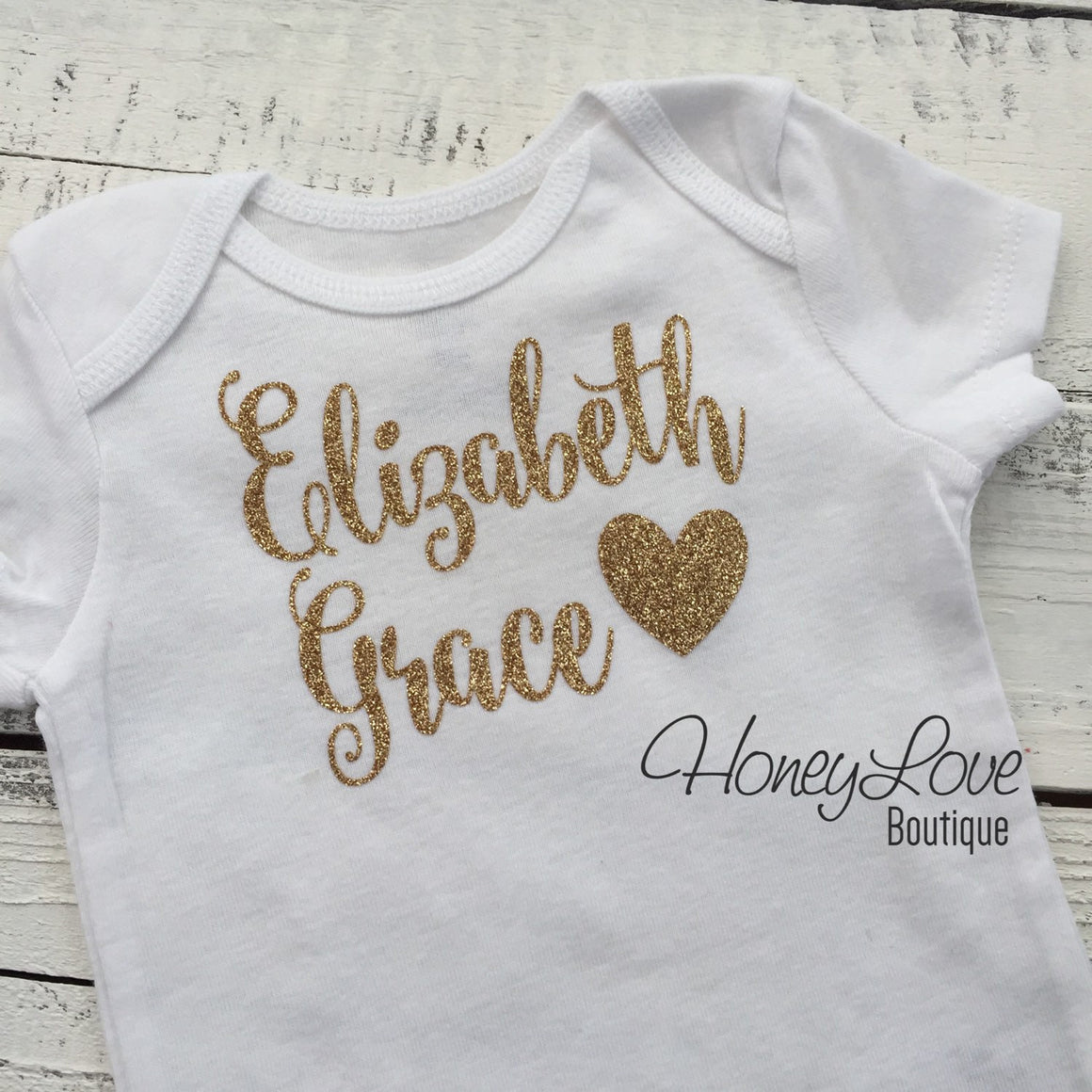 Personalized NAME Custom Personalization shirt bodysuit, Silver or Gold glitter sparkle sparkly sparkling heart - Newborn infant toddler baby girl - HoneyLoveBoutique