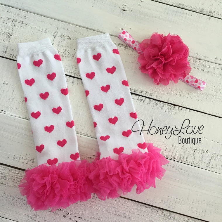 White/Hot Pink Hearts ruffle bottom leg warmers and matching headband - HoneyLoveBoutique