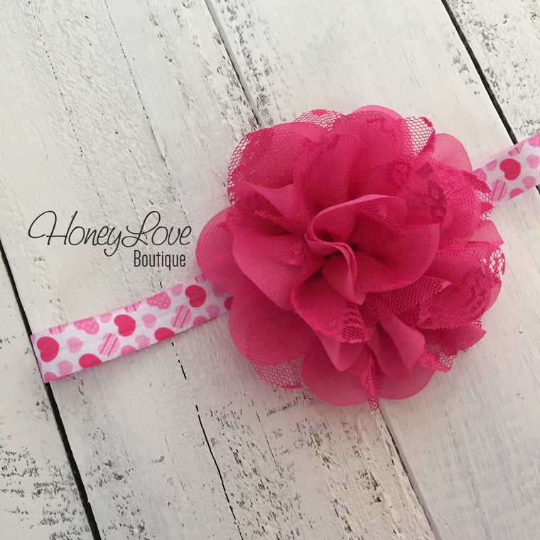 Hot Pink and White hearts flower headband - HoneyLoveBoutique