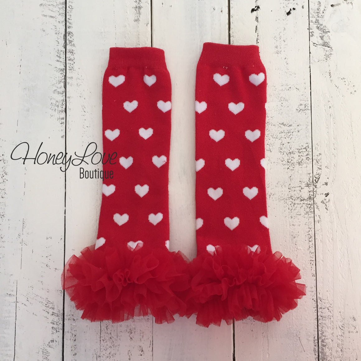 Red/White Heart leg warmers, red flower headband, red ruffle bottom bloomers