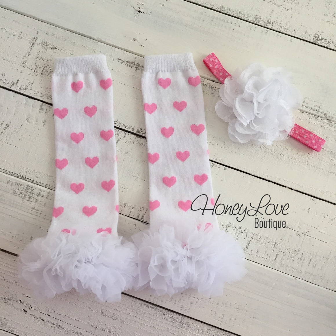 White/Light Pink Heart leg warmers and flower headband