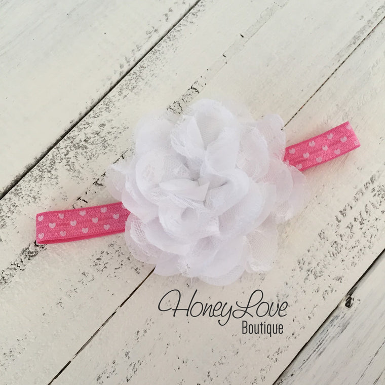 Pink and White Hearts Headband - HoneyLoveBoutique