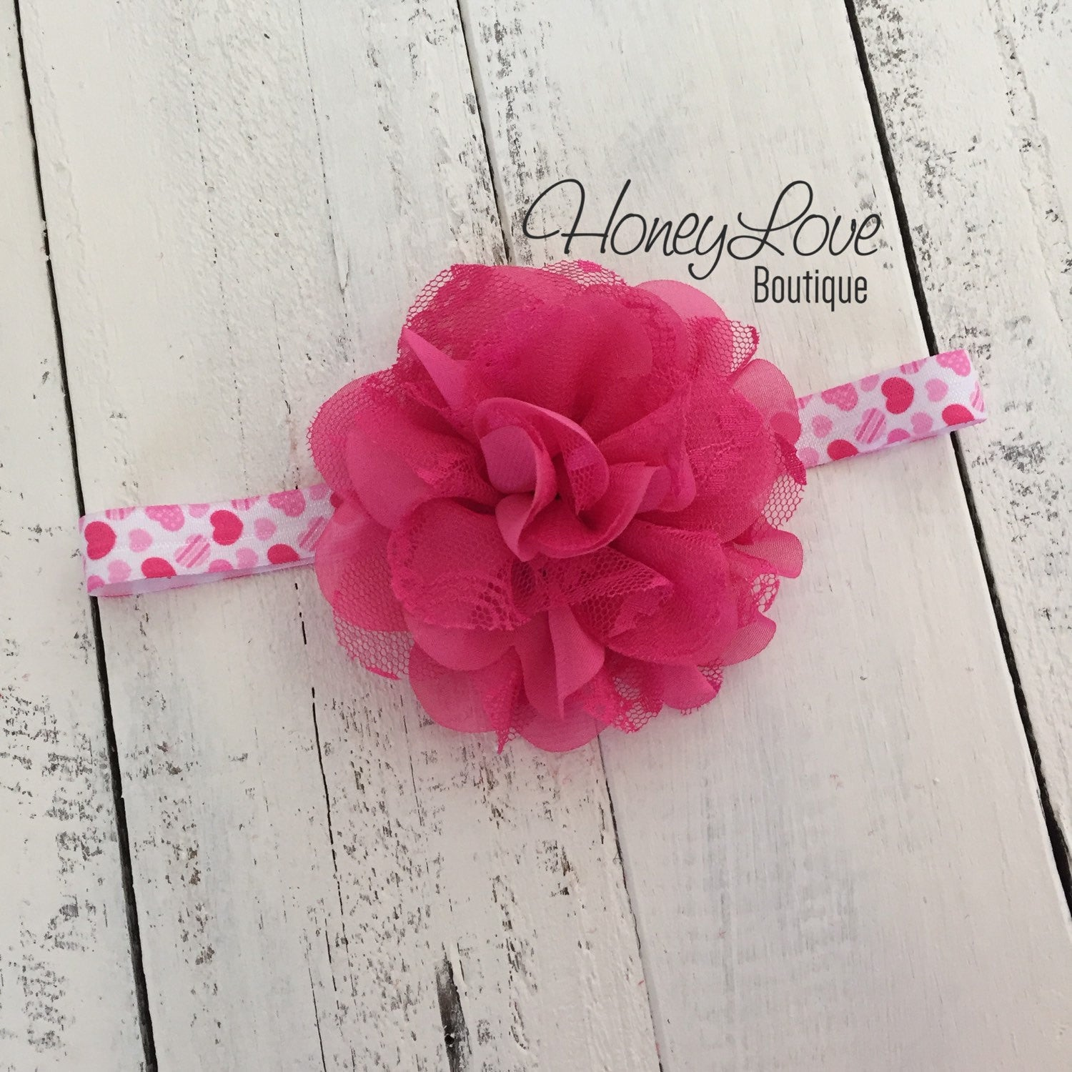 Hot Pink And White Hearts Flower Headband Honeyloveboutique