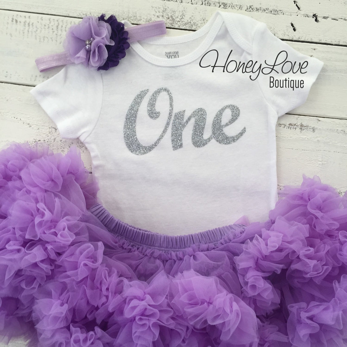 One - Birthday Outfit - Lavender Purple and Silver/Gold Glitter - HoneyLoveBoutique