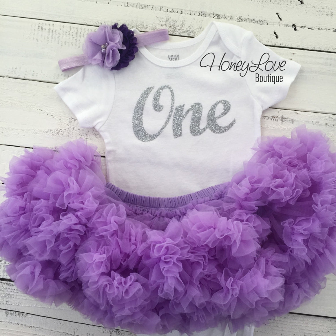 One - silver glitter number shirt, lavender purple pettiskirt tutu skirt, flower rhinestone headband First Birthday 1st Cake Smash baby girl - HoneyLoveBoutique