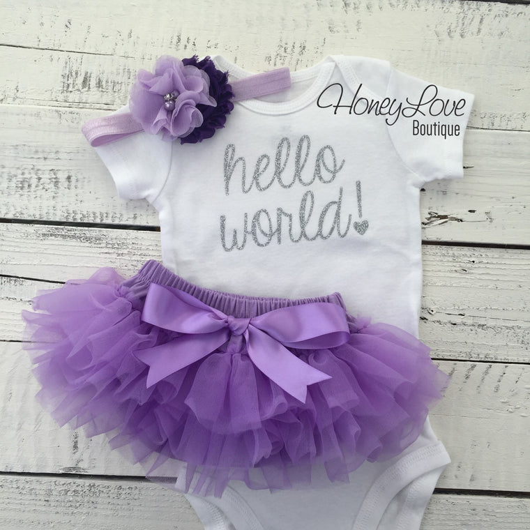 Hello World! Newborn baby girl take home hospital outfit, flower headband, silver glitter shirt bodysuit, lavender purple ruffle bloomers - HoneyLoveBoutique