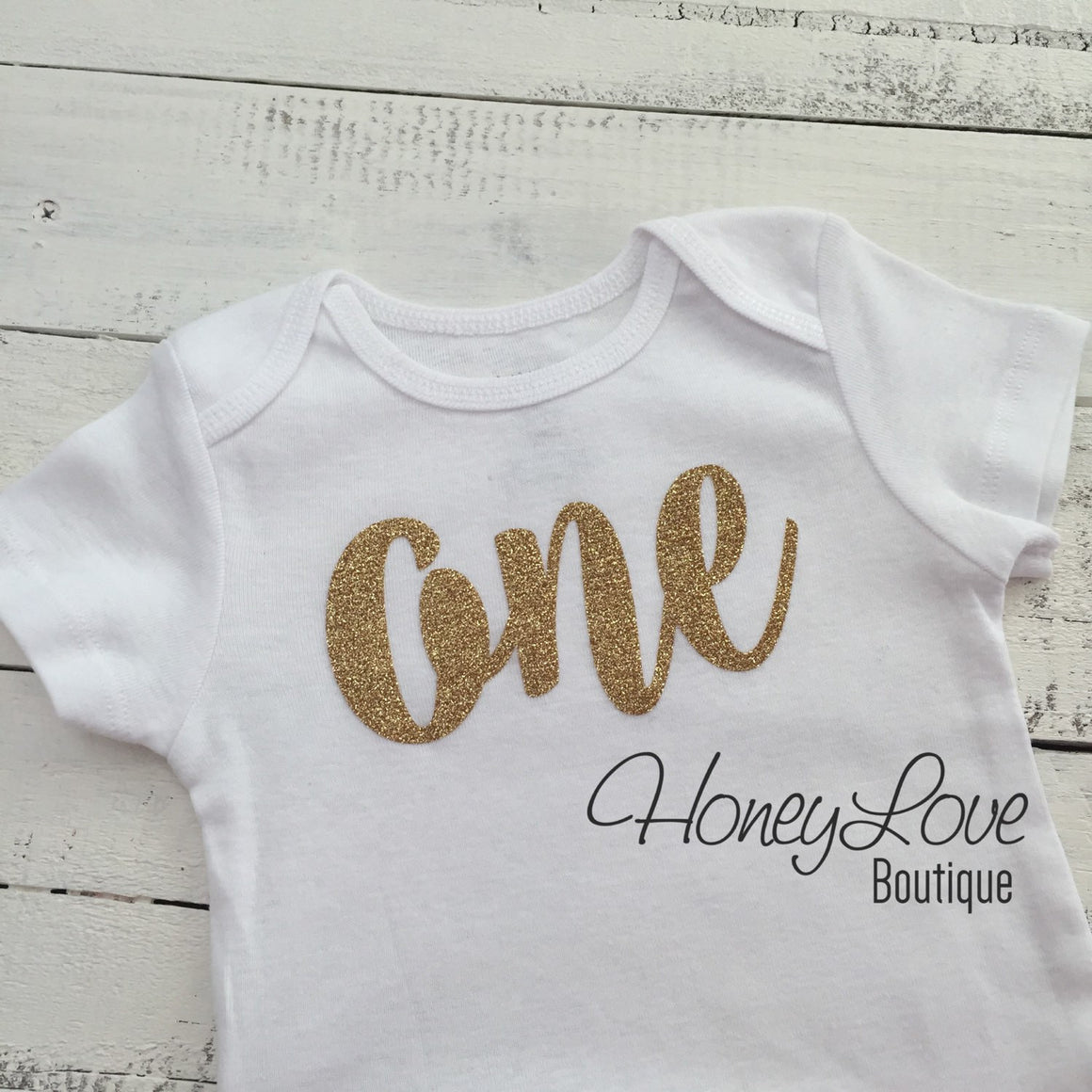 One - Birthday Outfit - Gold Glitter with Glitter Peach - HoneyLoveBoutique