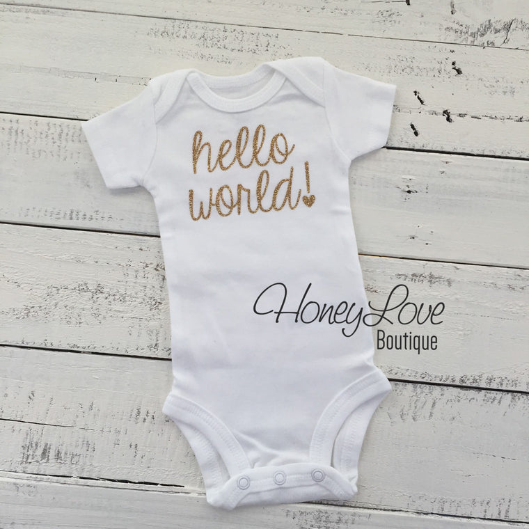 hello world! Silver/Gold glitter bodysuit