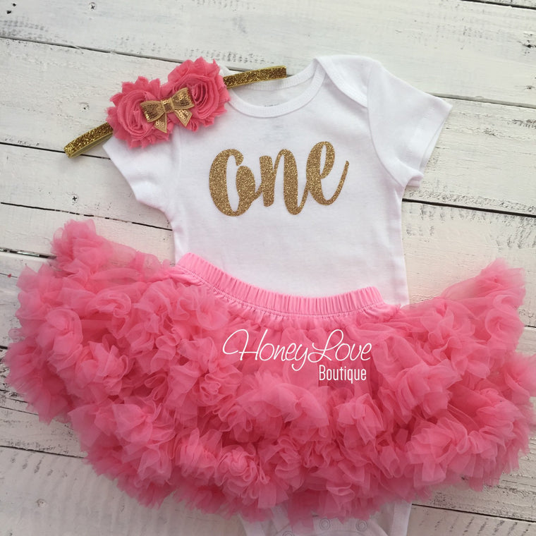 One - 1st Birthday Outfit - Coral and Gold glitter