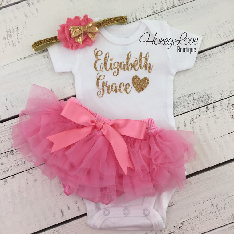 PERSONALIZED gold glitter shirt bodysuit, coral pink ruffle tutu skirt bloomers, flower headband, newborn toddler baby girl take home outfit - HoneyLoveBoutique