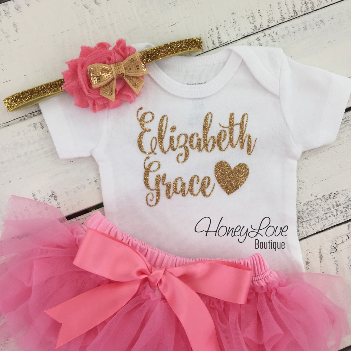 PERSONALIZED Name Outfit - Gold Glitter and Coral Pink