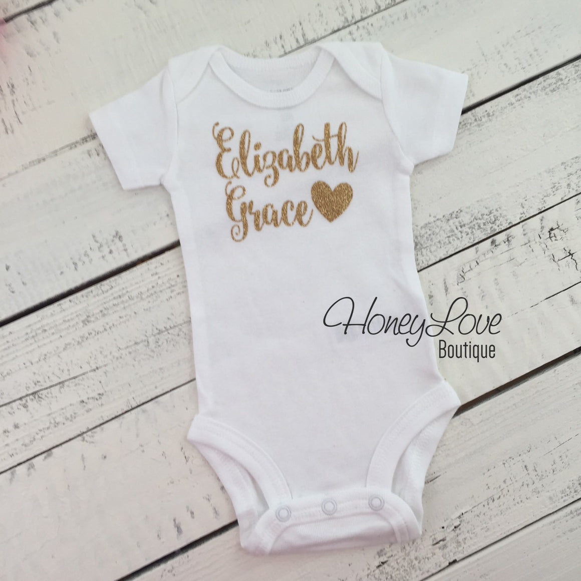 Personalized Name with Heart - Silver/Gold Glitter