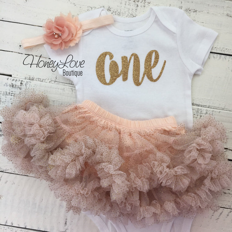 One - gold glitter shirt, peach ruffle pettiskirt tutu skirt, flower rhinestone headband, number 1 First Birthday, 1st Cake Smash baby girl - HoneyLoveBoutique