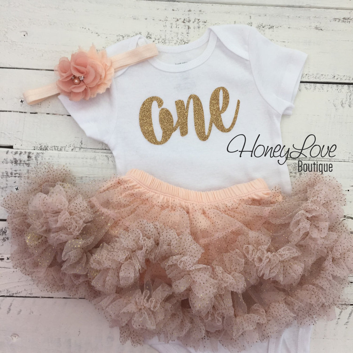 One - Birthday Outfit - Gold Glitter with Glitter Peach