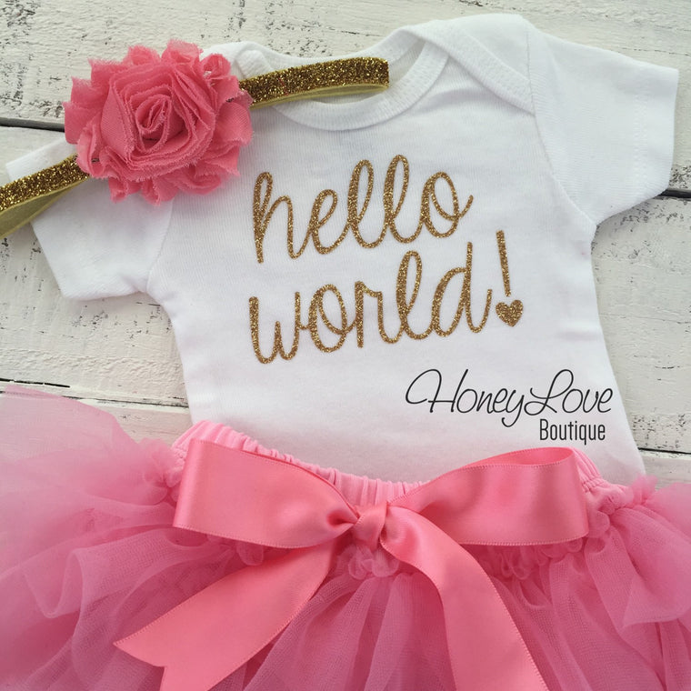 hello world! Outfit - Coral Pink and Gold/Silver Glitter