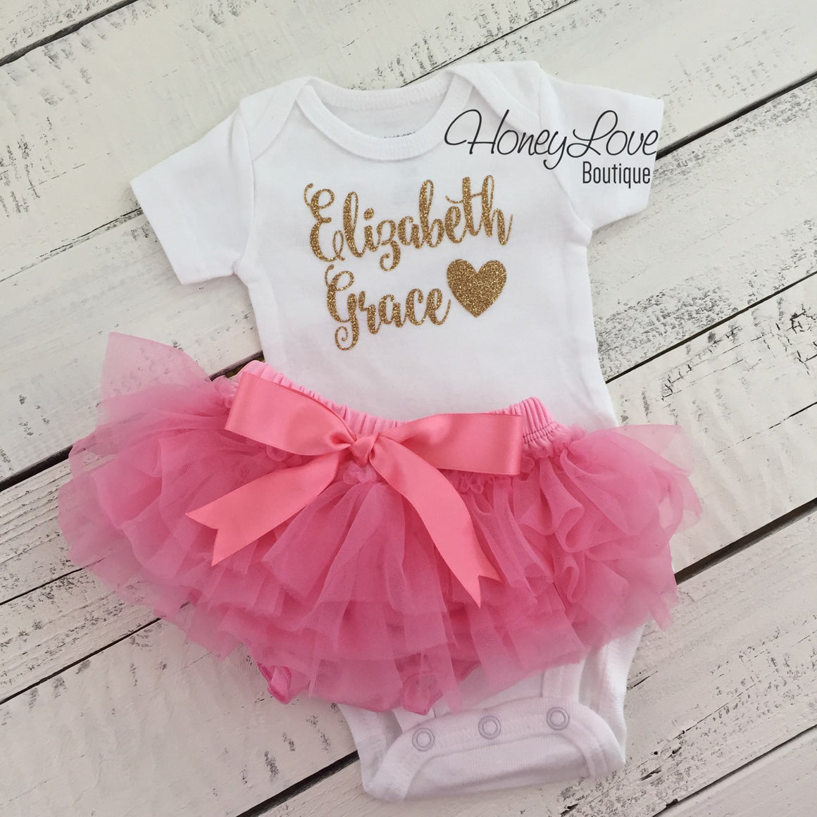 PERSONALIZED Name Outfit - Gold Glitter and Coral Pink - HoneyLoveBoutique