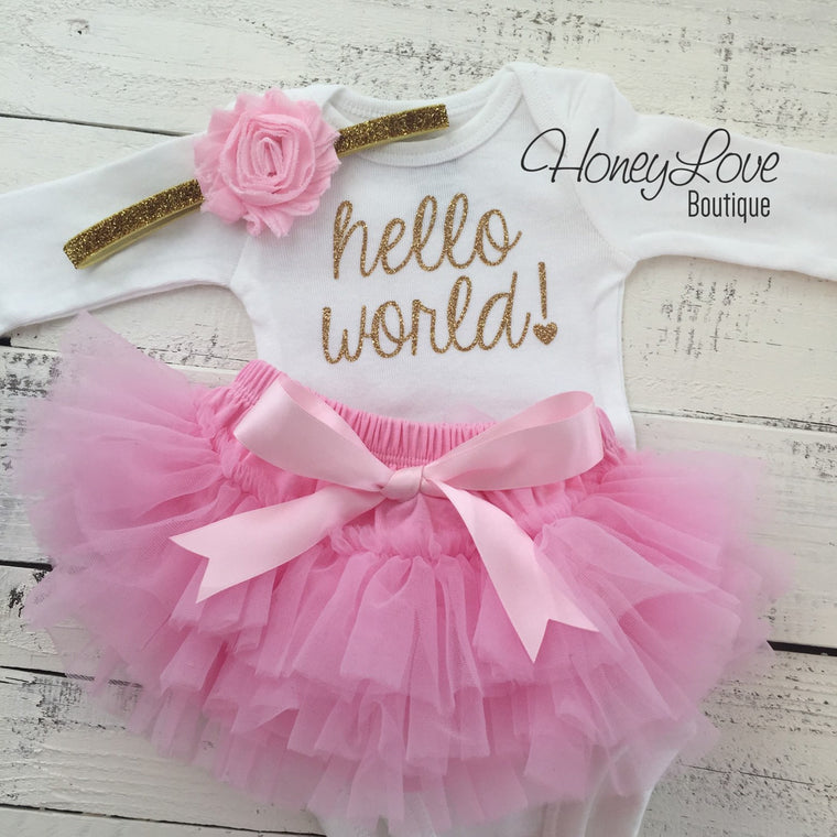 hello world! Outfit - Light Pink and Gold/Silver glitter
