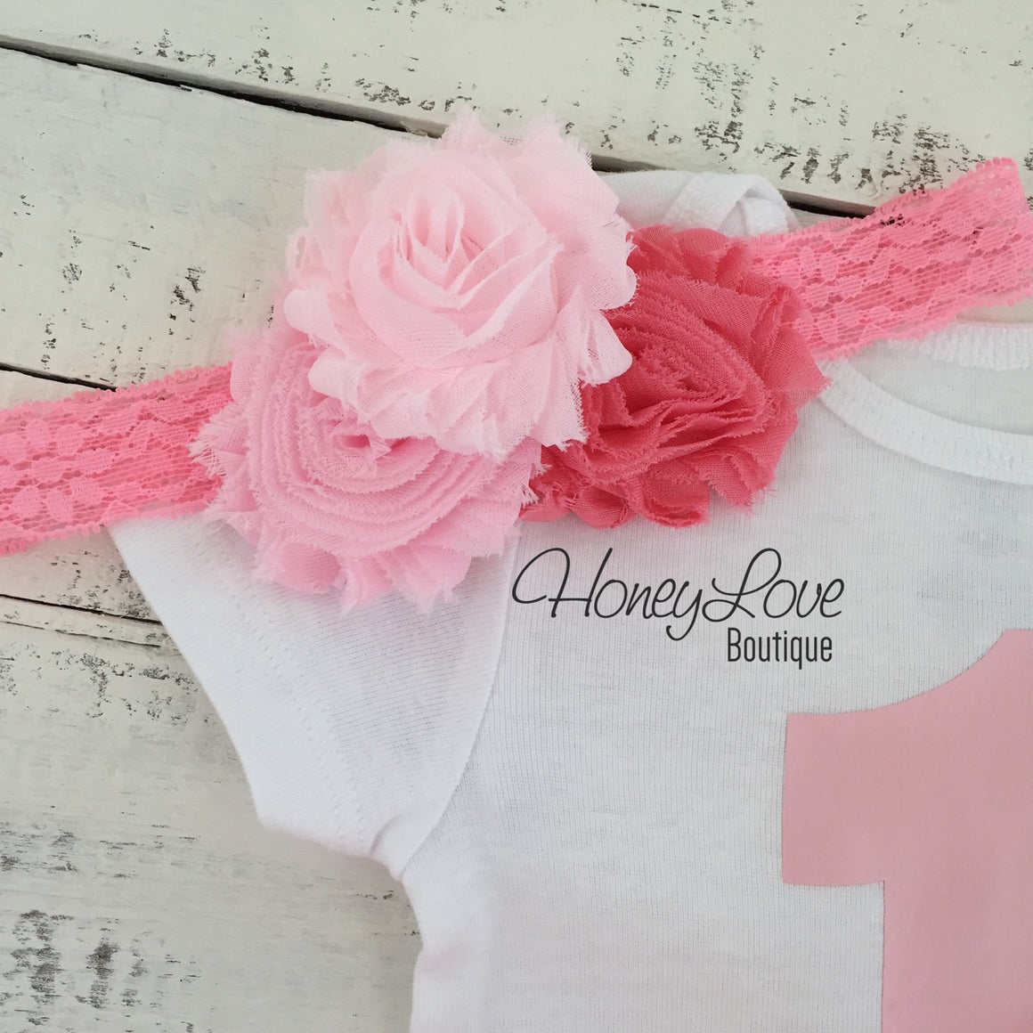 1st Birthday Outfit - Light Pink and Coral - HoneyLoveBoutique