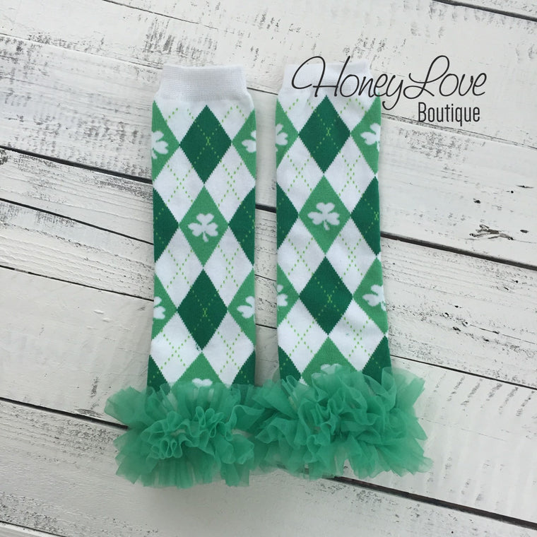 St. Patrick's Day Green/White/Argyle Shamrock leg warmers with green ruffles - HoneyLoveBoutique