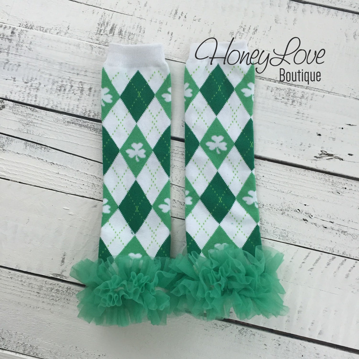St. Patrick's Day Green/White/Argyle Shamrock leg warmers with green ruffles