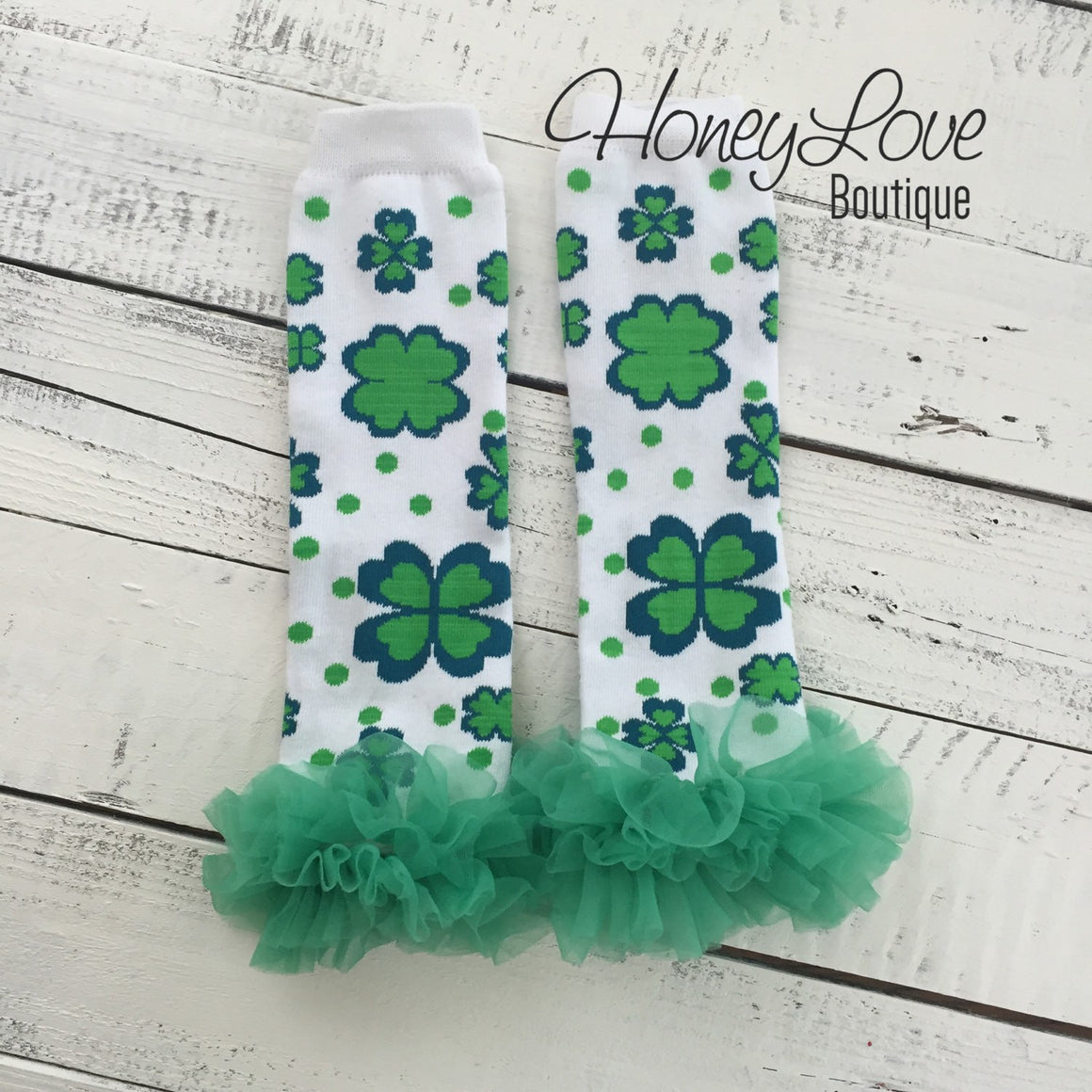 St. Patrick's Day Green/Navy Shamrock leg warmers with green ruffles - HoneyLoveBoutique