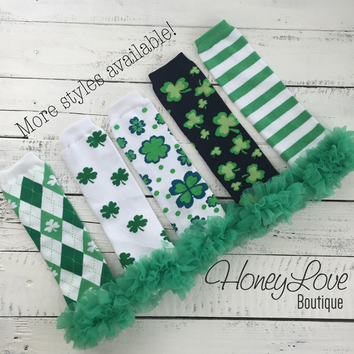 St. Patrick's Day Green/Navy Shamrock leg warmers with green ruffles