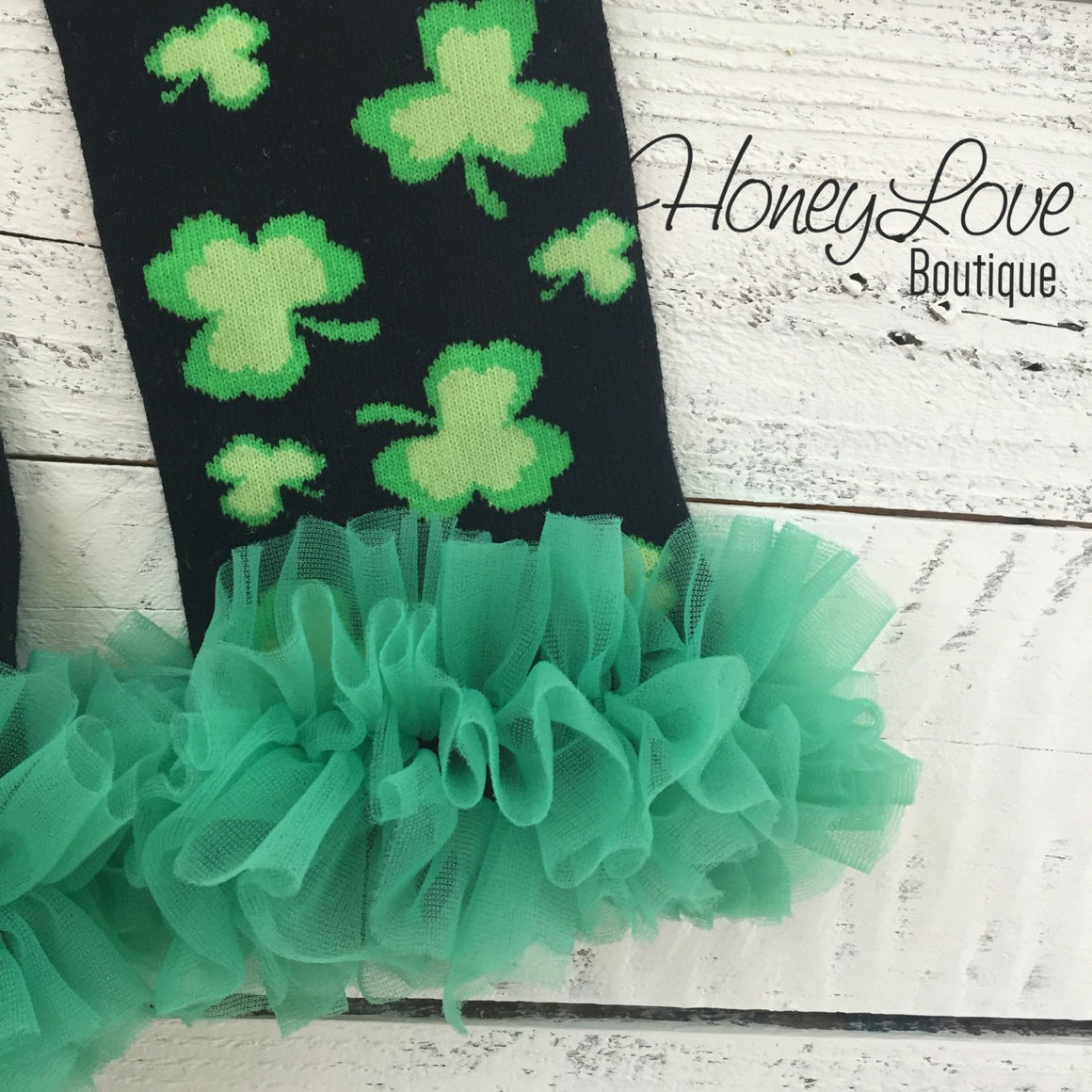 St. Patrick's Day Green/Black Shamrock leg warmers with green ruffles - HoneyLoveBoutique