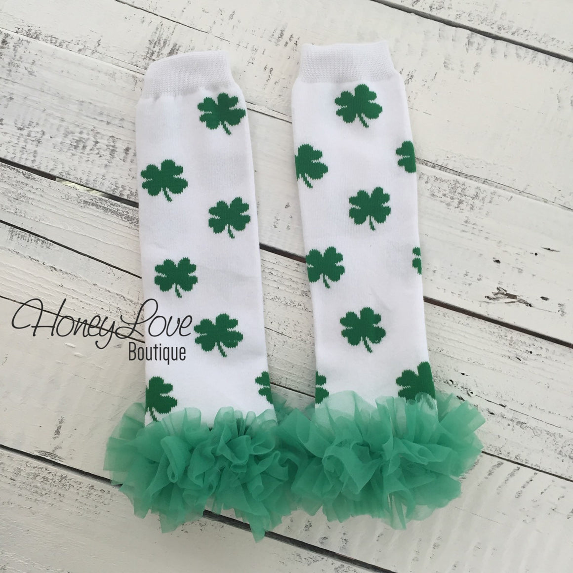 St. Patrick's Day Shamrock leg warmers with green ruffles