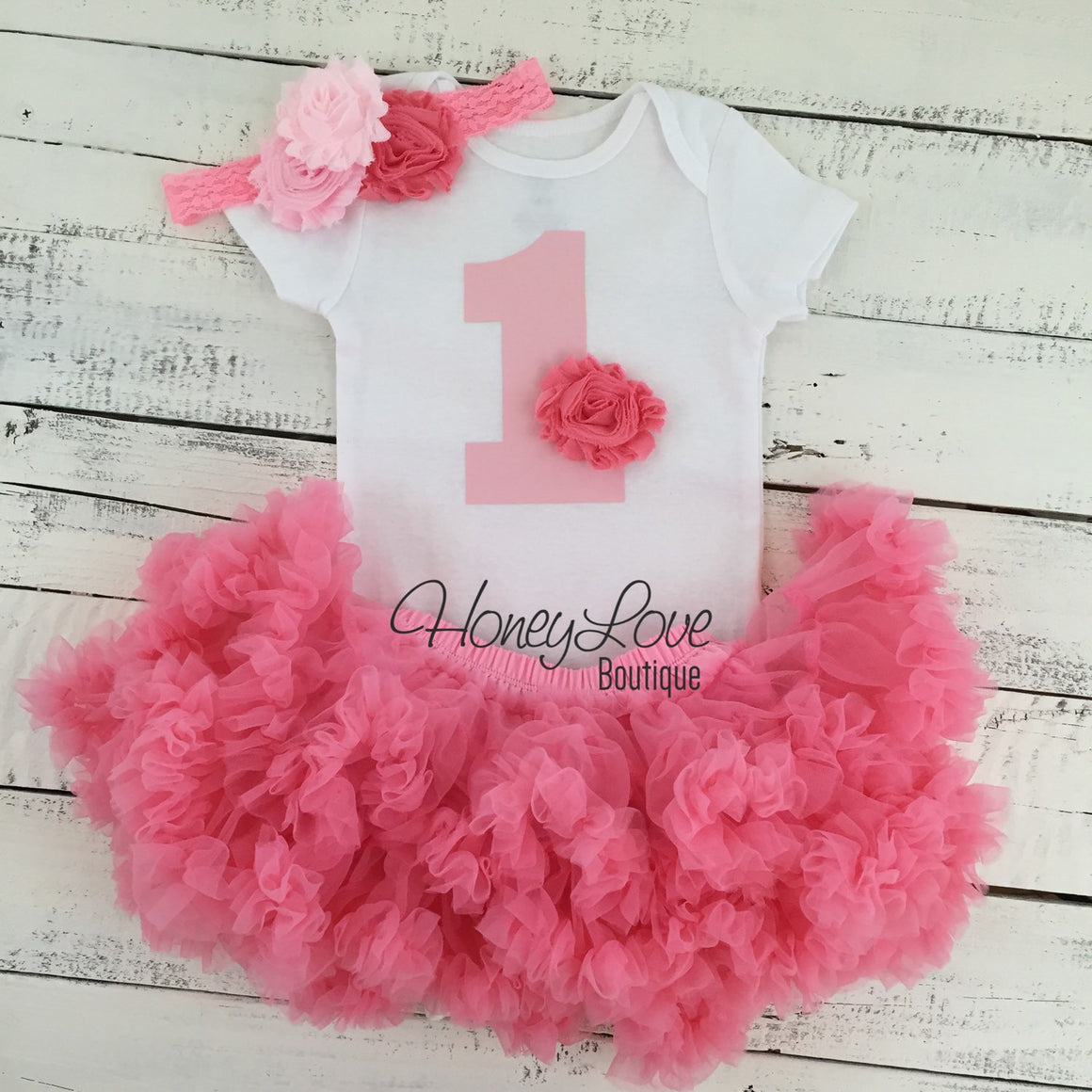 1st Birthday Outfit, light pink coral 1 number shirt, pettiskirt tutu skirt, lace shabby flower cluster headband, First Cake Smash baby girl - HoneyLoveBoutique