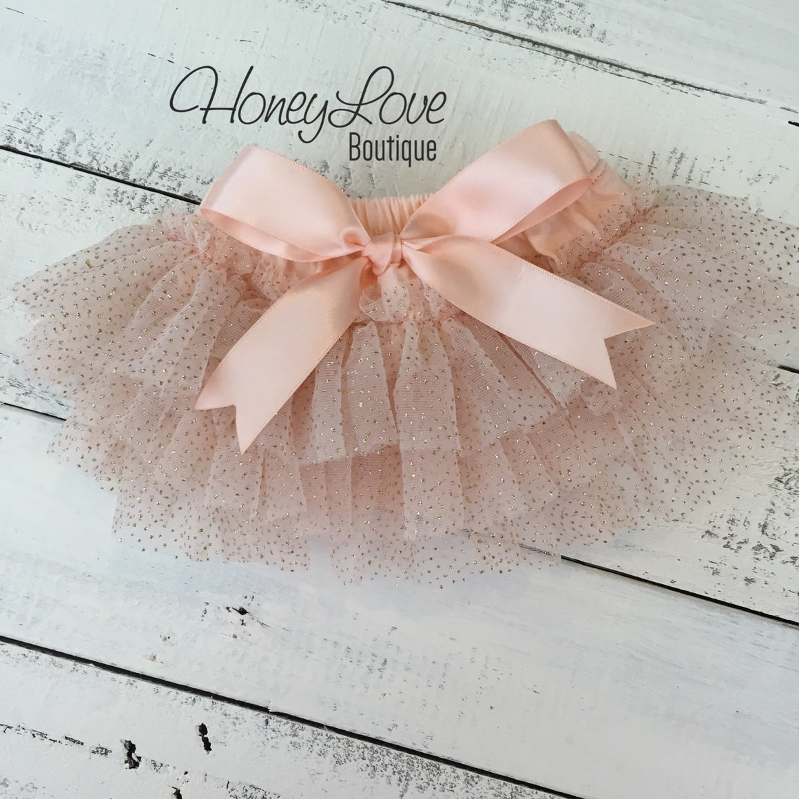 Peach and gold glitter tutu skirt bloomer with matching headband