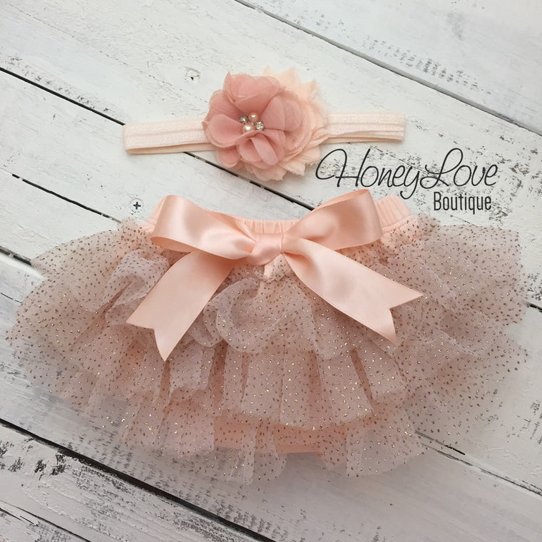 Peach gold glitter ruffle tutu skirt bloomers, flower rhinestone pearl headband bow, newborn infant toddler baby girl take home hospital - HoneyLoveBoutique