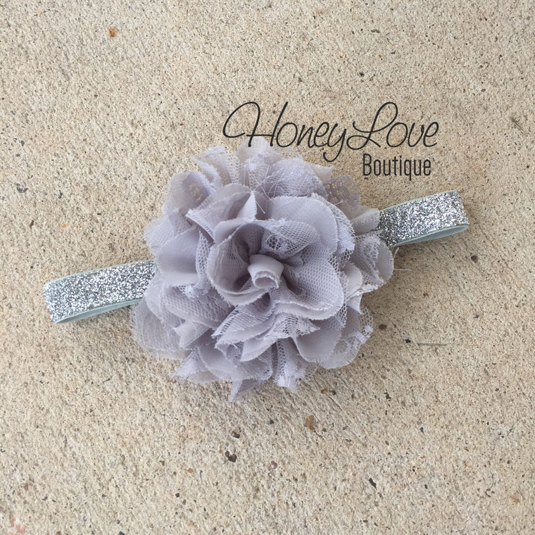 Gray chiffon and lace layered flower on silver glitter headband - HoneyLoveBoutique