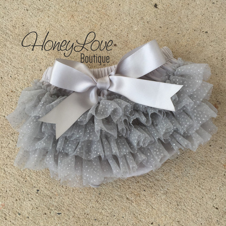 Gray and silver glitter tutu skirt bloomer - HoneyLoveBoutique