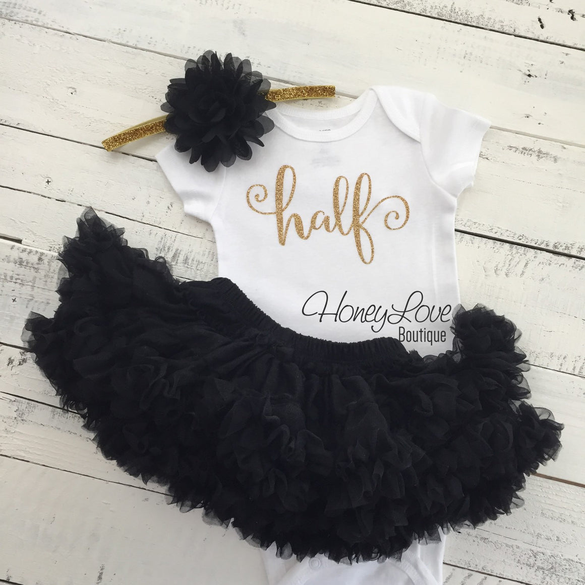 Half Birthday Outfit - Gold glitter and Black - HoneyLoveBoutique