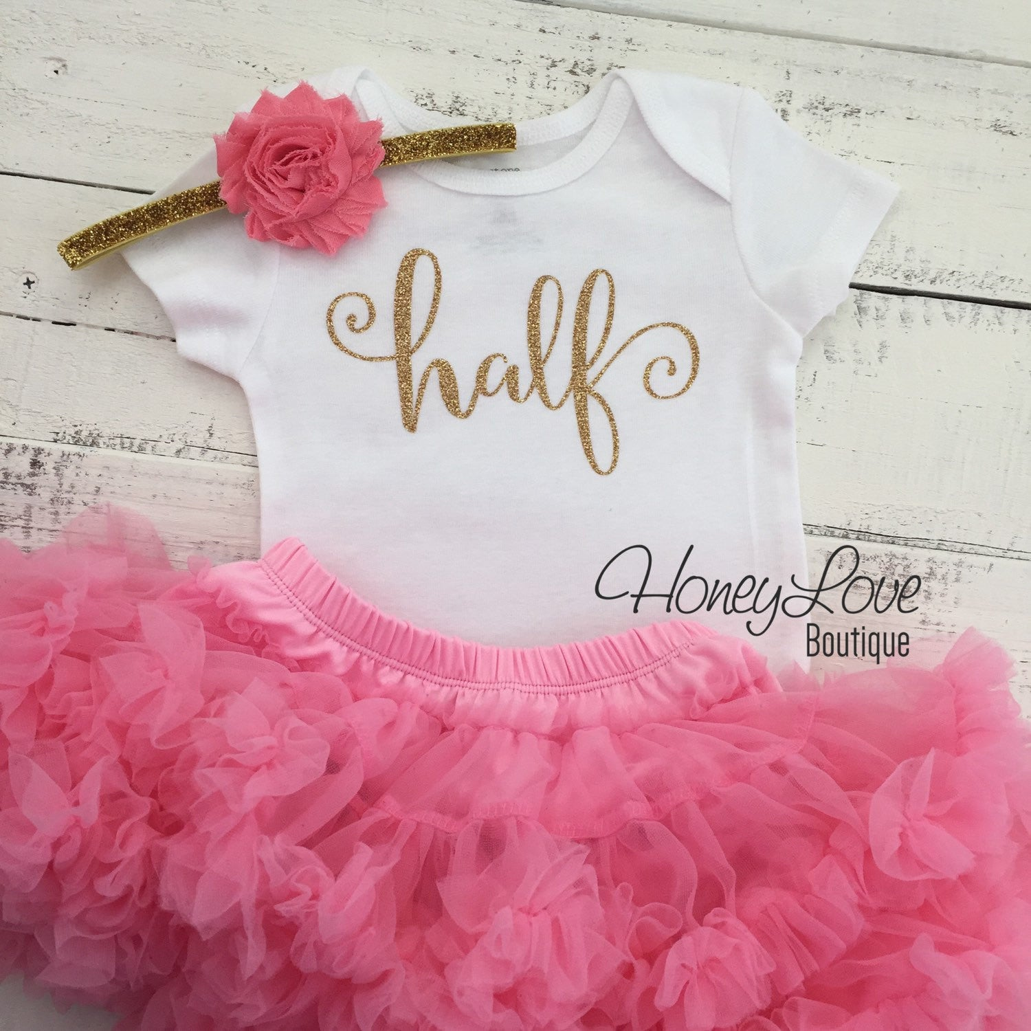 9e0872a4d351 Half Birthday Outfit - Gold Glitter and Coral Pink Pettiskirt -  HoneyLoveBoutique
