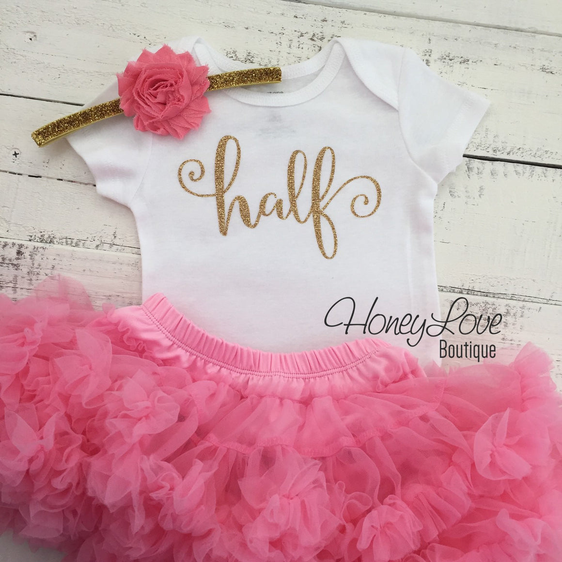 Half Birthday Outfit - Gold Glitter and Coral Pink Pettiskirt - HoneyLoveBoutique