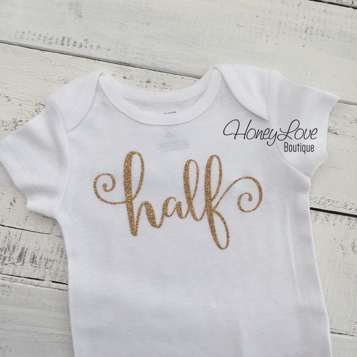 Half - SILVER or GOLD glitter number 1/2 shirt bodysuit, First Birthday, 1st Cake Smash baby girl, sparkly sparkle glittery 2nd two - HoneyLoveBoutique