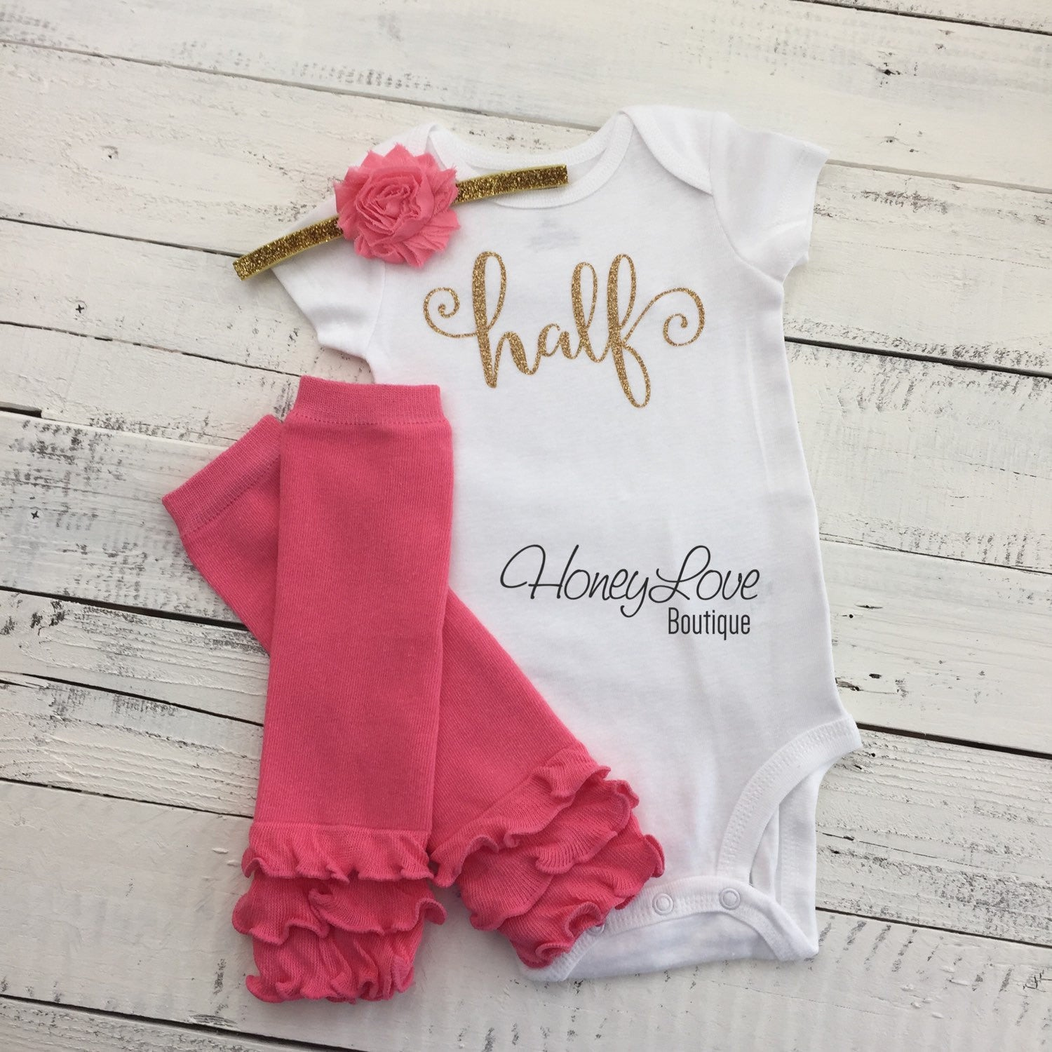 ec879fae1457 Half Birthday Outfit - Gold Glitter and Coral Pink Leg Warmers -  HoneyLoveBoutique