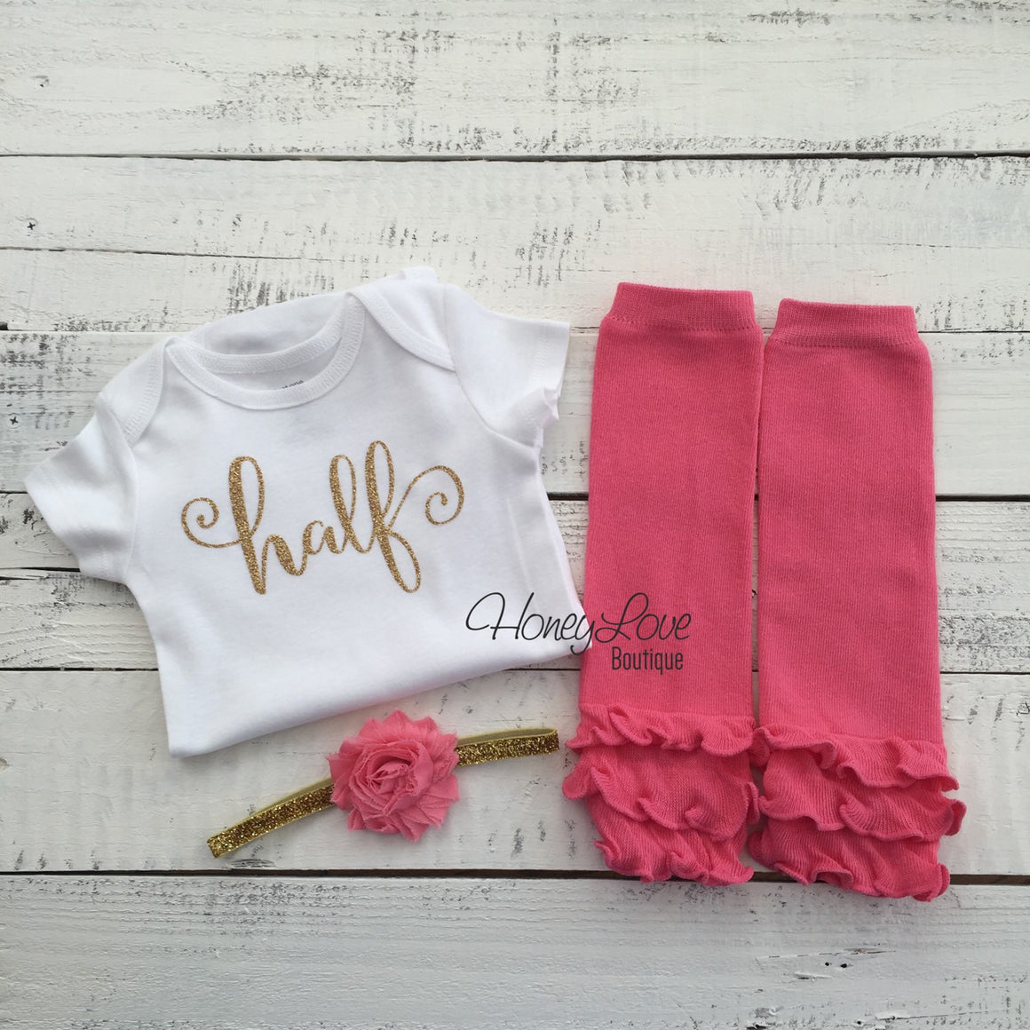 Half Birthday - gold glitter shirt, coral pink ruffle bottom leg warmers, flower headband bow, 6 months 1/2 Cake Smash baby girl outfit - HoneyLoveBoutique